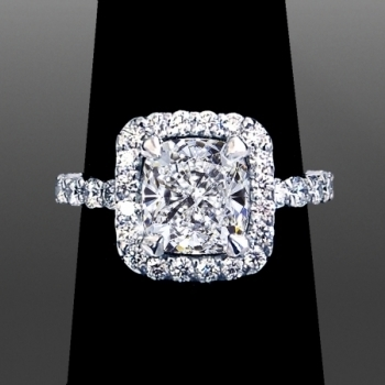 Winston Style Single Halo Cushion Cut