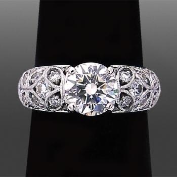 1.28ct Petal Design Milgrain Ring