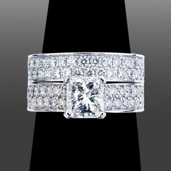 1.4ct Radiant Cut Thick Setting & Matching Band