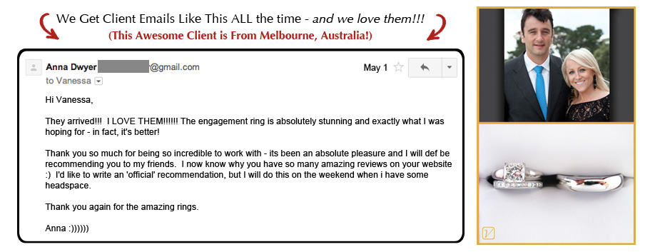 Anna's Engagement Ring Email review - Vanessa Nicole Jewels