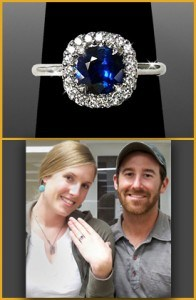 Picture of Customers Showing Their Ring With Blue Center | Jewelry Stores