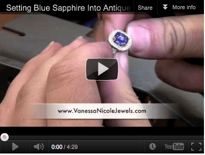 Setting Blue Sapphire Into Antique Setting - Vanessa Nicole Jewels - Engagement Rings