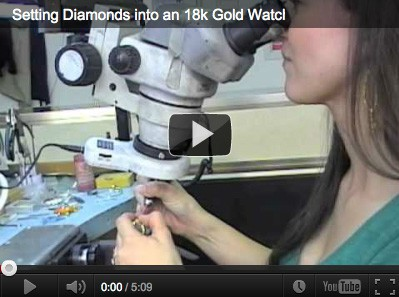 Setting diamonds into an 18k gold watch Vanessa Nicole Jewels Videos