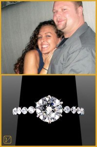 Woman With Her Fiancé Showing Her Antique Style Engagement Ring Settings!