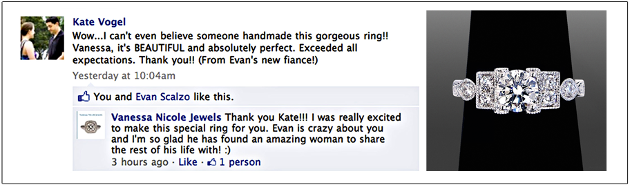 One of Our Custom Engagement Rings Reviewed by Customer on Facebook