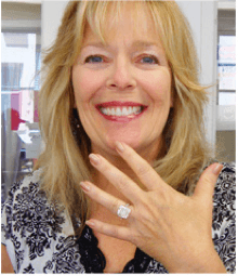 Woman Demonstrating One of Our Antique Engagement Rings!