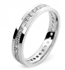 Princess Cut Channel Set Wedding Rings