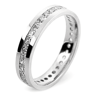 Princess Cut Channel Set Wedding Rings