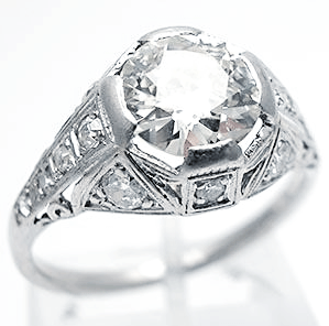 Large top on thin band Antique Engagement Rings