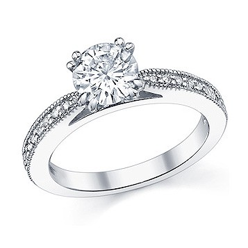 Custom Made Milgrain Diamond Engagement Ring - Design Your Own Engagement Ring