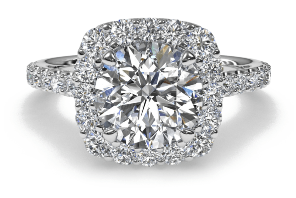 Custom Engagement Rings - Round Diamond with Cushion Halo