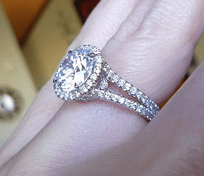 Lovely Diamond Ring Band Closeup On Finger