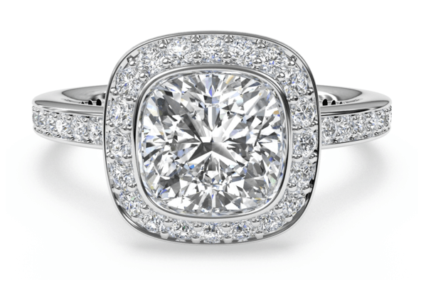 Diamond Rings - Cushion Cut Diamond with Cushion Halo