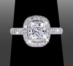 Custom Engagement Rings – Double Row Cushion Halo - Vanessa Nicole Jewels
