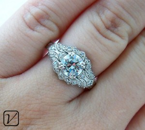 Custom Antique Engagement Ring for Anna & Dustin