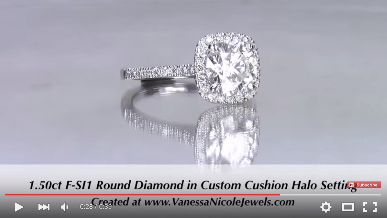 1.50ct Round Diamond in Cushion Halo for Danielle & Cody