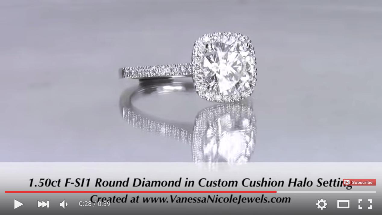 1.50ct Round Diamond in Cushion Halo for Danielle & Cody