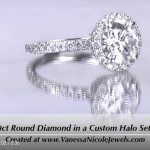 1.70ct Round Halo Diamond Ring - Vanessa Nicole
