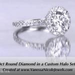 1.70ct Round Halo Diamond Ring - Vanessa Nicole