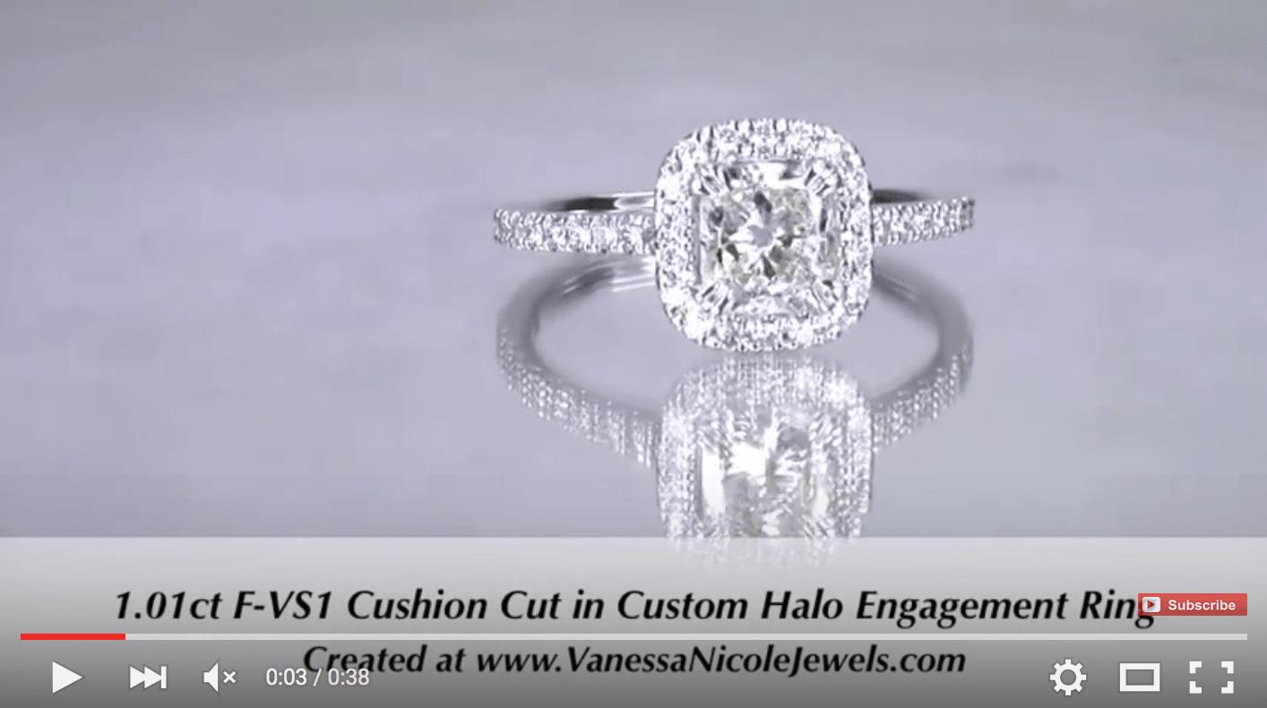 1ct Cushion Halo Engagement Ring for Savannah & Carl