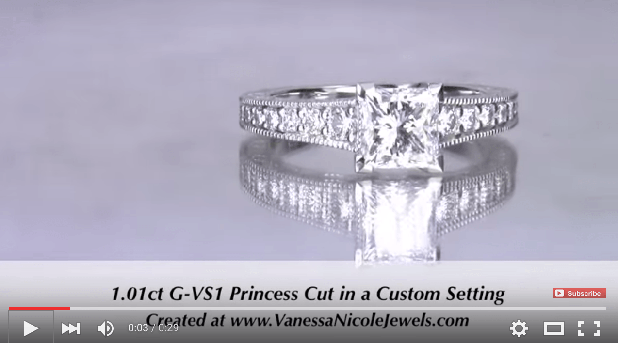 1ct Princess Cut Tapered Engagement Ring For Melissa & David