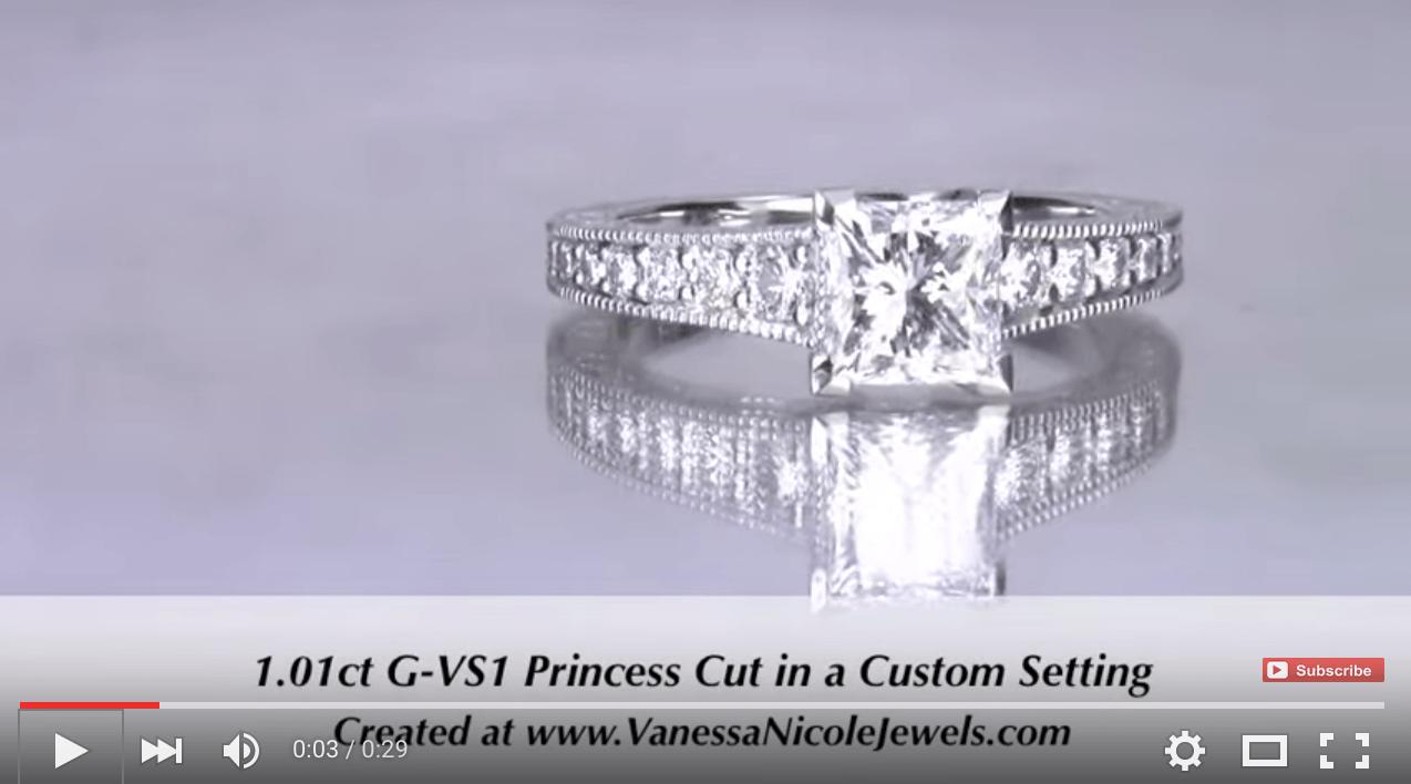 1ct Princess Cut Tapered Engagement Ring For Melissa & David