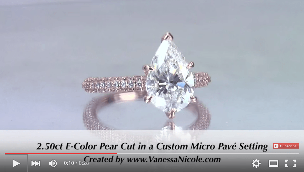2.50ct Pear Cut Micro Pavé Diamond Ring for Lora & Christian