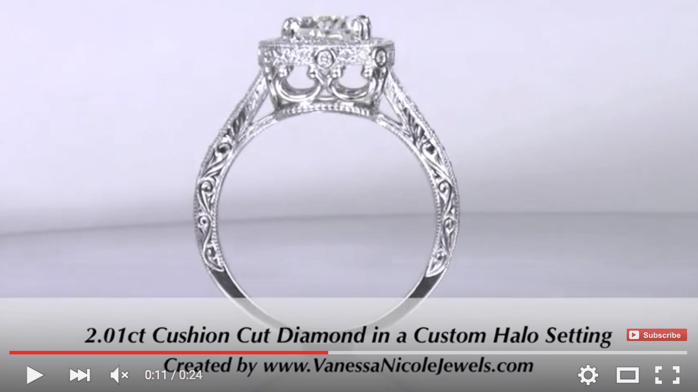 2ct Engraved Antique Engagement Ring for Anna & Justin