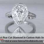 2ct Pear Halo Engagement Ring for Erina & Bow