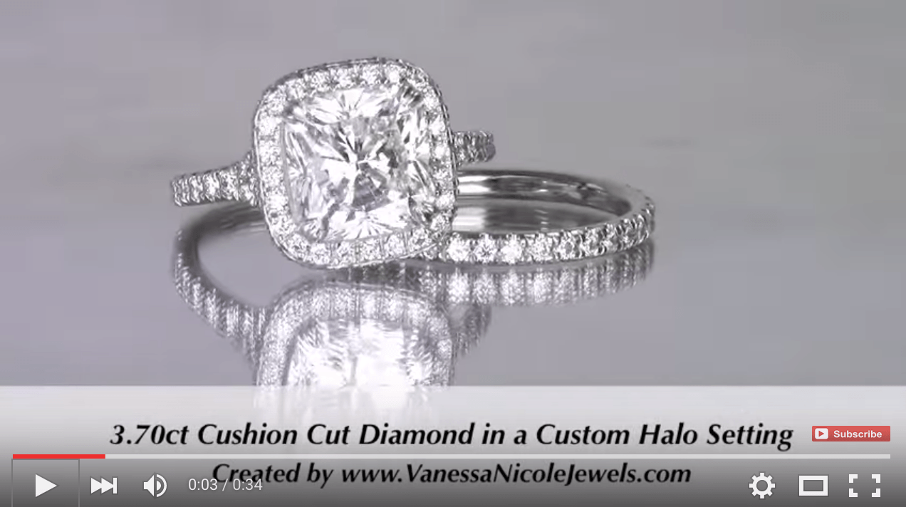 370ct Cushion Cut Pavé Engagement Ring For Tracy &