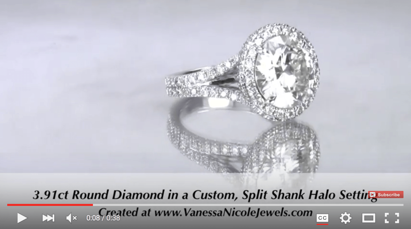 3.91ct Round Halo & Side Halo Split Shank For Laura