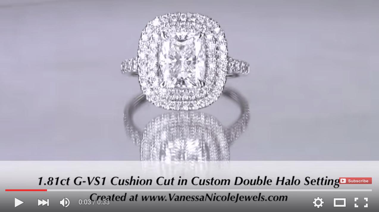 Double Halo with a 1.81ct Cushion Cut Diamond Created for Dragan & Elizabeta