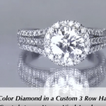 1.51ct E-colored, 3 row halo setting