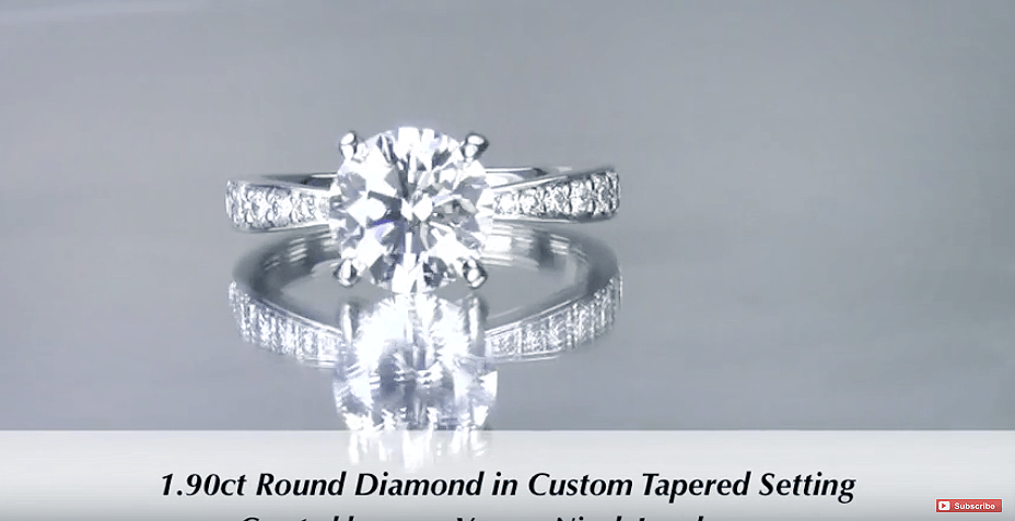 1.90ct Tapered Diamond Engagement Ring