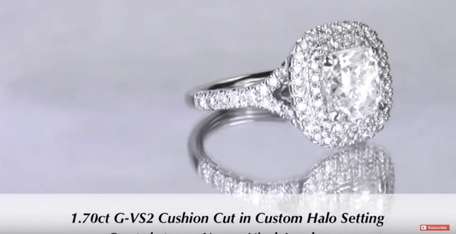 1.70 Cushion Cut Double Halo Engagement Ring for Stephanie & Brandon