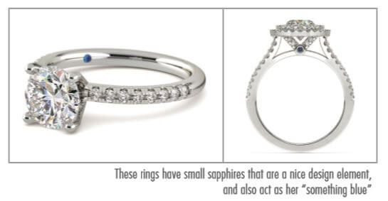 These rings have small sapphires that are a nice design element - Engagement Rings