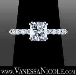 custom made Cushion Cut Diamond engagement ring