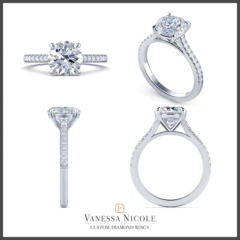 Solitaire Pavé Engagement Ring