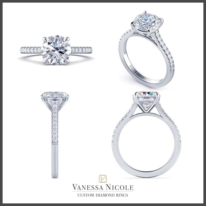 Solitaire Pavé Engagement Ring