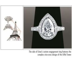 Complex Criss-Cross Design Of The Eiffel Tower On Engagement Ring