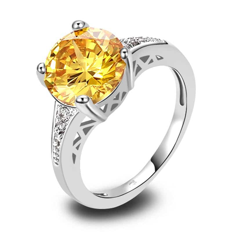 Engagement Ring With Colored Synthetic Diamond