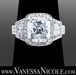custom made cushion cut diamond ring
