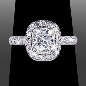 double row cushion halo engagement ring