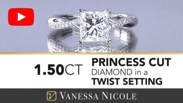 Petite Twist Diamond Ring with Princess Cut Solitaire