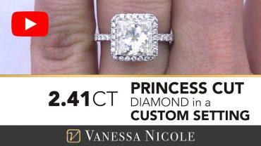 Princess Cut Diamond Halo Ring for Jackie