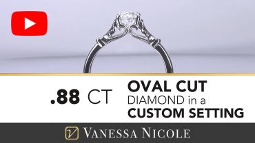 Engraved Oval Cut Diamond Engagement Ring for Kimiko