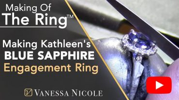 Oval Cut Blue Sapphire Engagement Ring Making for Kathleen