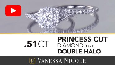 Princess Cut Double Halo Engagement Ring & Wedding Ring