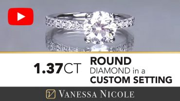 Round Cut Diamond Solitaire With Pave Diamonds Ring for Amy