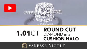 Round Cut Diamond in a Cushion Halo Setting Engagement Ring